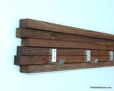 Coat Rack 5 Hook Walnut Modern Key Hat Minimalist Wall by MODBOX, $93.00
