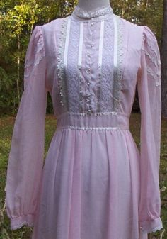 Vintage Clothing: Vintage 70's Pink Voile Victorian Gunne Sax Maxi ...