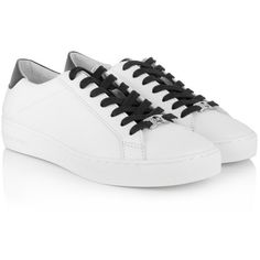 Michael Kors Irving Lace Up Sneaker Optic White/Black in white, black,... ($165) ❤ liked on Polyvore featuring shoes, sneakers, michael michael kors shoes, black shoes, leather sneakers, white leather sneakers and white leather shoes