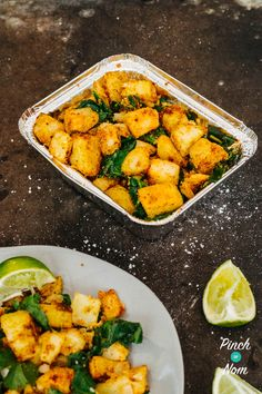 This Saag Aloo is a lightened up version of a traditional spinach and potato Punjabi dish which is popular in takeaways across the UK. By removing the ghee (clarified butter) and oven baking the potato instead of frying you can enjoy Saag Aloo guilt free. Aloo Recipes, Spinach Recipes, Vegetable Recipes, Vegetarian Recipes, Healthy Recipes, Curry Recipes, Curry Side Dishes, Side Dishes Easy, Side Dish Recipes