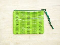 Upcycled candy wrapper cosmetic bag toilet bag necessaire zipper pouch make up pencil case green sweets eukalyptus menthol bonbon vinyl gift by poppyshome on Etsy