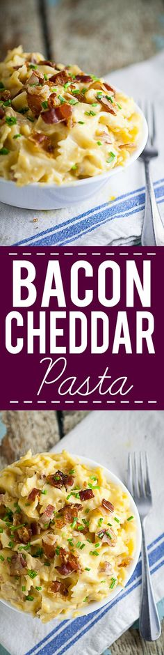 Bacon Cheddar Bow Ties Recipe - Take comfort food to the next level with this easy and cozy Bacon Cheddar Bow Ties recipe. A childhood favorite, grown-up style! Perfect, delicious and EASY pasta recipe for family dinner!