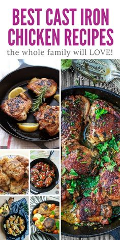 12 Cast Iron Pan Chicken Recipes that'll Make You Want to Hug Your Granny! - These really are the best cast iron chicken skillet recipes – delicious! Cast Iron Chicken Recipes, Chicken Skillet Recipes, Cast Iron Recipes, Skillet Meals, Skillet Pan, Cast Iron Skillet Cooking, Iron Skillet Recipes, Dutch Oven Cooking, Cast Iron Dutch Oven