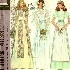 70s McCalls 4038 Bride Bridesmaid Midriff Dress Pattern Size 12 B 34