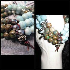 3-Sum bound by Leather Stretch Bracelets-Larimar and Aqua Terra Jasper Gemstones  www.eyegotchacovered.info