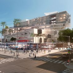 A major mixed-use public building featuring angled blocks stacked like dominoes by OMA