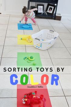 We filled a laundry basket with an assortment of red, blue, yellow and green toys and made a fun little activity out of sorting them! Emmy is two years old and this was the perfect activity for her age. It really helped her learn her colors and it was so fun to watch her run back and forth between the baskets and color mats! Indoor Activity for toddlers, activity to learn colors, two year old activity, preschool things to do