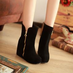 Ultra high heels platform boots platform elevator boots metal decoration wedges spring and autumn single boots