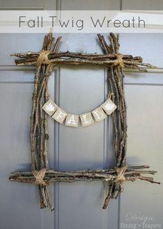 rectangular wreath, fall wreath, door decor, rustic wreath, burlap, inexpensive wreath, unconventional wreaths