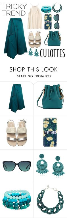 """""""Untitled #142"""" by rockabillygypsy ❤ liked on Polyvore featuring TIBI, H&M, Sophie Hulme, Casetify, Tiffany & Co., Kenneth Jay Lane, DIANA BROUSSARD, TrickyTrend and culottes"""