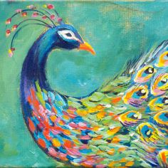 How to paint a Dramatic Peacock with a Colorful Splash by Layering the Paints