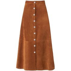 DVF Gracelynn Suede Skirt ($798) ❤ liked on Polyvore featuring skirts, whisky brown, brown suede skirt, below knee skirts, diane von furstenberg, high waisted a line skirt and button front a line skirt