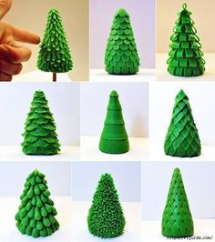 Here are some different ideas to make different branches on a Christmas Tree in polymer clay or fondant.