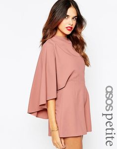 Image 1 of ASOS PETITE Playsuit with Cape Sleeve