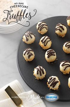Cheesecake has never been easier than these No-Bake Mini cheesecake Truffle Bites, made with PHILADELPHIA Cream Cheese, powdered sugar, vanilla, graham crackers, and BAKER'S Semi-Sweet Chocolate.