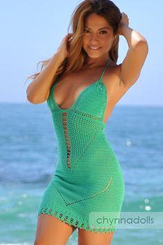Emerald Green V Pattern Crochet Dress