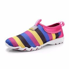 Comfortable Rainbow Colorful Striper Mesh For Women Breathable Slip On Flat Sport Shoes - NewChic Mobile.