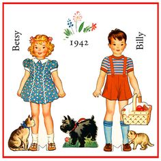 Paper Dolls Billy and Betsy 1942 Digital by skipalongdesigns- click for clothes and accessories.