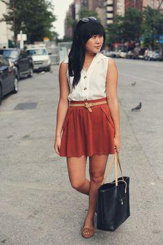 JennifHsieh | White Sleeveless Blouse and Rust Scalloped Skirt #ootd #wiwt