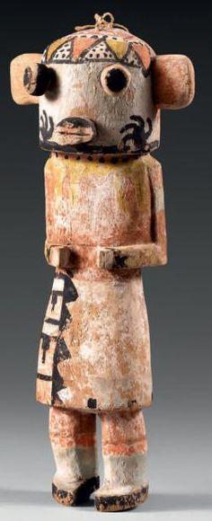 KACHINA blaireau De type Hopi, U.S.A., travail Navajo? Bois et pigments