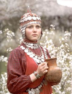 A young Chuvash woman in her traditional dress and jewellery