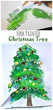 Fork painted Christmas tree – winter arts and crafts projects for kids. Stamp an… Fork painted Christmas tree – winter arts and crafts projects for kids. Stamp and paint with a fork. Christmas Crafts For Kids To Make, Christmas Tree Crafts, Craft Projects For Kids, Arts And Crafts Projects, Christmas Activities, Holiday Crafts, Kids Crafts, Christmas Holidays, Christmas Decorations