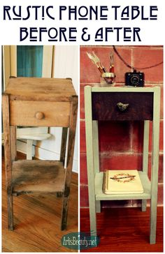 ART IS BEAUTY: Rustic Phone Table Makeover Themed Furniture Makeover
