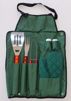 Gourmet 7 Piece Barbecue Apron and Tools by Big Back Yard. $12.99. Fold-n-Snap Design Ideal for Travel and Storage. Heavy Guage Nylon Apron with Adjustable Locking Fastener. Grade Steel and Solid Wood Handles. This set has everything you need to handle your BBQ grill. Great for tailgates due to its easy fold and snap storage that makes it travel easy. Set includes apron; slotted turner; Barbecue Fork; Tongs; Quilted Oven Mitt; and Salt & Pepper Shakers.