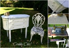 Sew pretty! Antique sewing table and machine