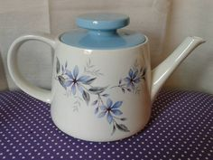 Blue Alpine, RIDGWAY Teapot. Staffordshire England, bottom also states white mist REG TRADE MARK NO 828344 (MADE IN ENGLAND) I believe to be 1960-79. Fab teapot in fab condition, please see pictures.