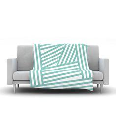"""Louise Machado """"Aqua Stripes"""" Fleece Throw Blanket"""