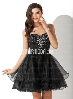 A-Line/Princess Sweetheart Short/Mini Organza Satin Homecoming Dress With Beading - JJsHouse Homecoming Dresses Under 100, Prom Dresses For Sale, Prom Dresses Online, Formal Dresses, Affordable Wedding Dresses, Cheap Wedding Dress, Wedding Party Dresses, Bridesmaid Dresses, Quinceanera Dama Dresses