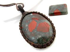 African Bloodstone Necklace / Bloodstone jewelry / March Birthstone  / Funky / gift idea / Unisex / Healing stone / Earth Aura Creations