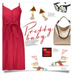 """Red Dress"" by mahafromkailash ❤ liked on Polyvore featuring Ancient Greek Sandals and NYX"