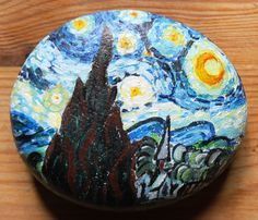 "Van Gogh ""The Starry Night"" Acrylic Painting on Stone"