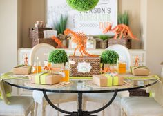 Dinosaur Dig Birthday Party {Modern Museum Style}  Love the orange skeletons