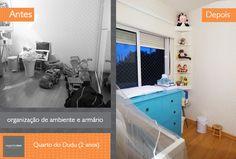 Antes e depois da organização de quarto infantil. Mais fotos no site!