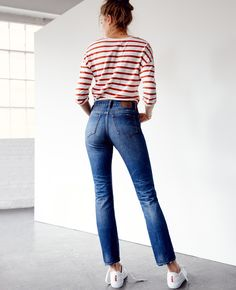 madewell cruiser straight crop jeans. #denimmadewell 90s Fashion, Fashion Outfits, Fashion Trends, Simple Outfits, Casual Outfits, Harry Styles Clothes, Madewell, Crop Jeans, Slim Jeans
