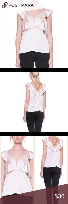 Champagne Ruffle Top Champagne Ruffle Top with V neck Tops Blouses