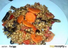 Pohanka s fazolkami na česneku recept - TopRecepty.cz Cauliflower, Oatmeal, Grains, Rice, Meat, Chicken, Vegetables, Cooking, Breakfast