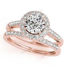 This carat halo diamond engagement bridal ring set crafted in solid rose gold, expresses the harmony of union with delicate interwined in diamond design. This ring comes in beautifull gift packaging. Square Halo Engagement Rings, Halo Diamond Engagement Ring, Wedding Engagement, Engagement Bands, Ring Set, Ring Verlobung, Bridal Rings, Wedding Ring Bands, Bridal Jewelry