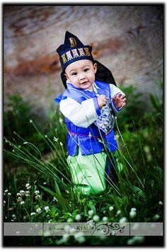 a Korean baby in a hanbok<3