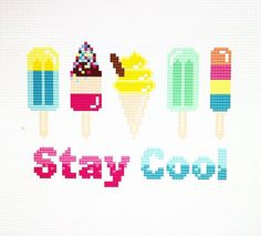 Ice Lollies & Ice Cream - Stay Cool! Cross Stitch Pattern  14 Count White Aida Actual Design Area 5.1 x 3.6 inches Recommended Fabric Size 7 x 5.5 inches Stitches 72 x 52 DMC Colours  Upon purchase you will receive an instant download of the pattern with a full list of colours required to stitch the design.