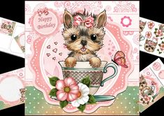 8x8 teacup Yorkie mini kit by Carol Smith a very cute mini kit suitable for young and old alike has a very cute Yorkie puppy sat in a tea cup sending love would work for several occasions.co-ordinating tags for the placement of your choice say happy birthday just for you and with love also a blank tag for the greeting of your choice.Kit contains main topper decoupage elements insert plate mini gif