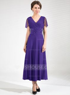 A-Line/Princess V-neck Tea-Length Tulle Jersey Mother of the Bride Dress With Ruffle Beading (008039105) - JJsHouse