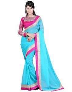 Indian House Stunning Blue Colour Chiffon Saree Online At Aimdeals.com - 01