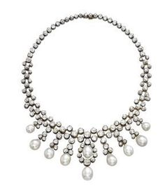 An antique diamond and pearl necklace designed as an old-cut diamond collet fringe and neckchain, suspending ten drop-shaped pearls, circa 1870, 37.5 cm inner circumference, with French assay mark for silver and gold.