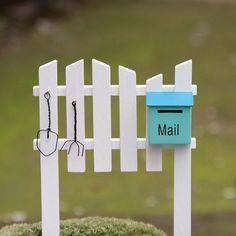 Fence Mailbox Miniature Fairy Garden Home Houses Decoration Mini Craft Micro Landscaping Decor DIY Accessories #MailboxLandscape