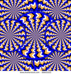 stock photo : Illusion-O  (motion illusion)  Zigzag-patterned wheels rotate in opposite directions in an abstract optical illusion of the illusory motion variety.  optical illusion,illusion,motion,op art,blue,wheels,rotating, wall art,wallpaper