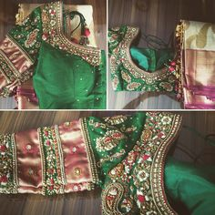 Bridal way! bottle green raw silk blouse complementing a cream n maroon saree!